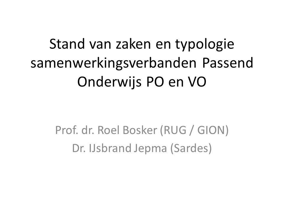 Stand van zaken en typologie samenwerkingsverbanden Passend Onderwijs PO en VO Prof.