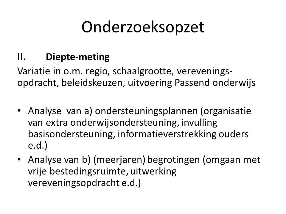 Onderzoeksopzet II.Diepte-meting Variatie in o.m.