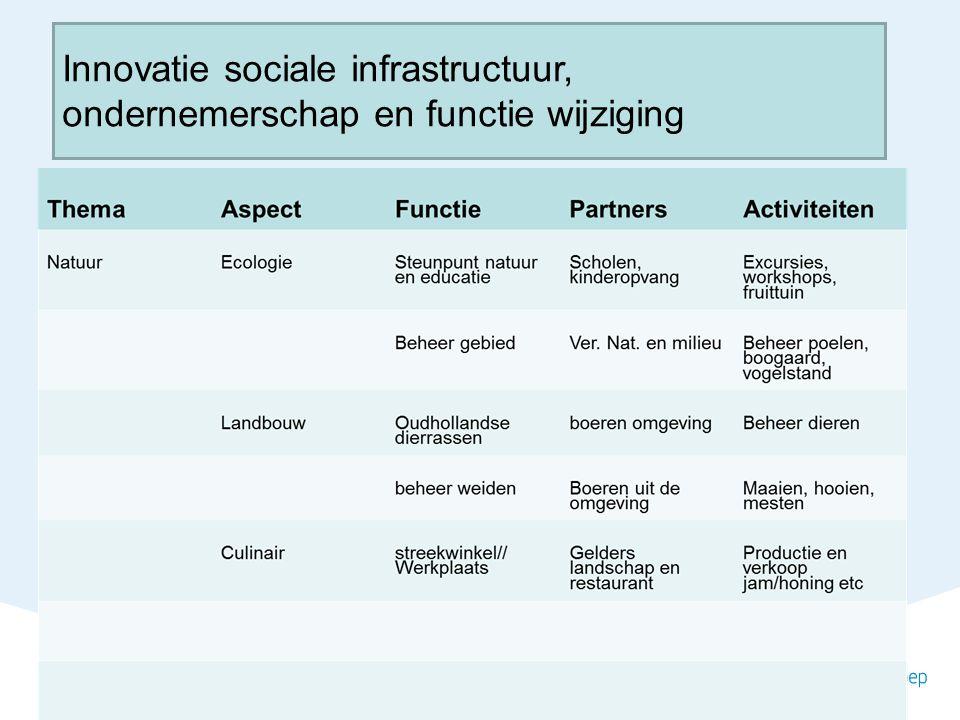 Innovatie sociale infrastructuur, ondernemerschap en functie wijziging