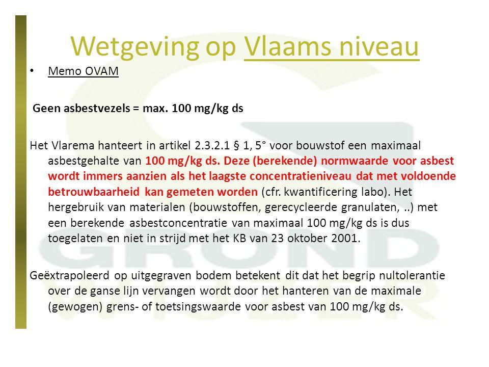 Wetgeving op Vlaams niveau Memo OVAM Geen asbestvezels = max. 100 mg/kg ds Het Vlarema hanteert in artikel 2.3.2.1 § 1, 5° voor bouwstof een maximaal