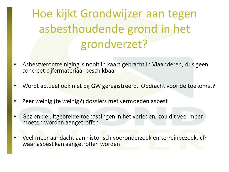 Hoe kijkt Grondwijzer aan tegen asbesthoudende grond in het grondverzet? Asbestverontreiniging is nooit in kaart gebracht in Vlaanderen, dus geen conc