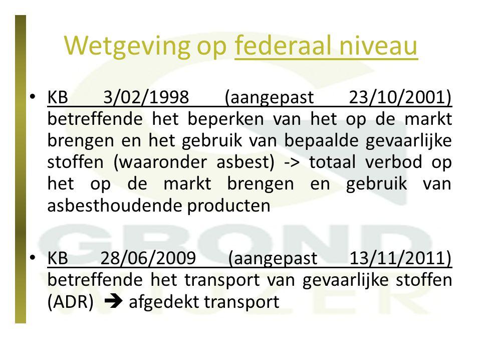 Wetgeving op federaal niveau KB 3/02/1998 (aangepast 23/10/2001) betreffende het beperken van het op de markt brengen en het gebruik van bepaalde geva