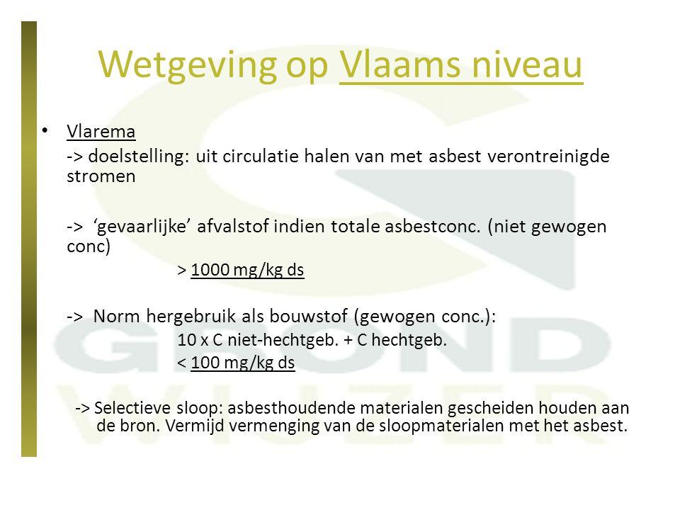Wetgeving op Vlaams niveau Vlarebo -> geen normen (noch bodemsanering, noch grondverzet) Tot voor 2014Vanaf 2014 (memo OVAM, asbest in bodem) Vrij hergebruik als bodemnultolerantie100 mg/kg DS (gewogen) Hergebruik binnen de werfrisico-gebaseerd100 mg/kg DS (gewogen) Bouwkundig bodemgebruik (BBG) 100 mg/kg DS (gewogen) Toetsingswaarde bodemsanering 100 mg/kg DS (gewogen)