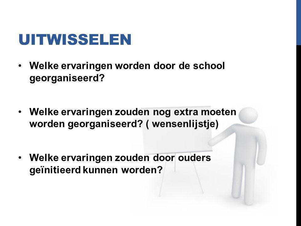 UITWISSELEN Welke ervaringen worden door de school georganiseerd? Welke ervaringen zouden nog extra moeten worden georganiseerd? ( wensenlijstje) Welk