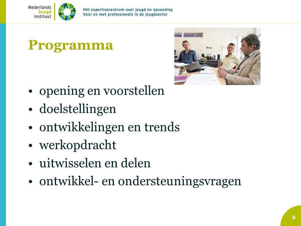 Programma opening en voorstellen doelstellingen ontwikkelingen en trends werkopdracht uitwisselen en delen ontwikkel- en ondersteuningsvragen 2