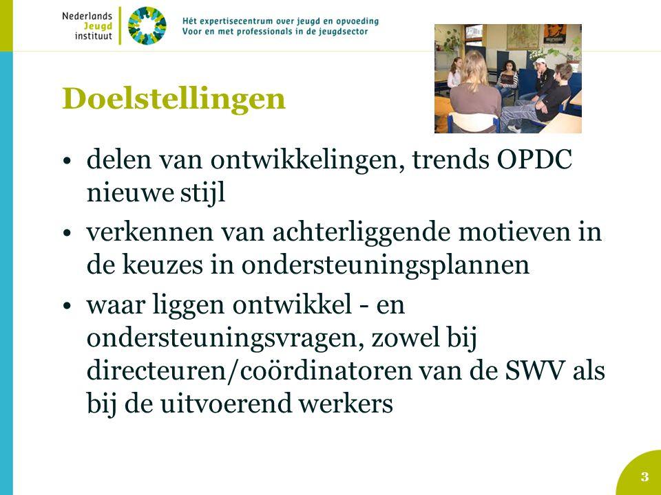 Doelstellingen delen van ontwikkelingen, trends OPDC nieuwe stijl verkennen van achterliggende motieven in de keuzes in ondersteuningsplannen waar lig