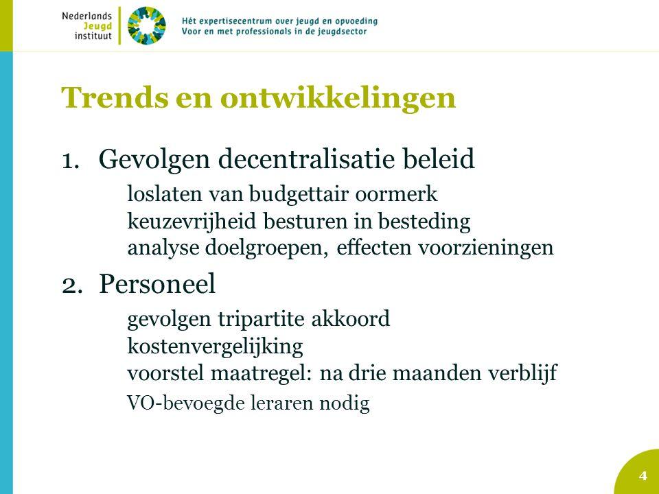 Trends en ontwikkelingen 1.Gevolgen decentralisatie beleid loslaten van budgettair oormerk keuzevrijheid besturen in besteding analyse doelgroepen, ef