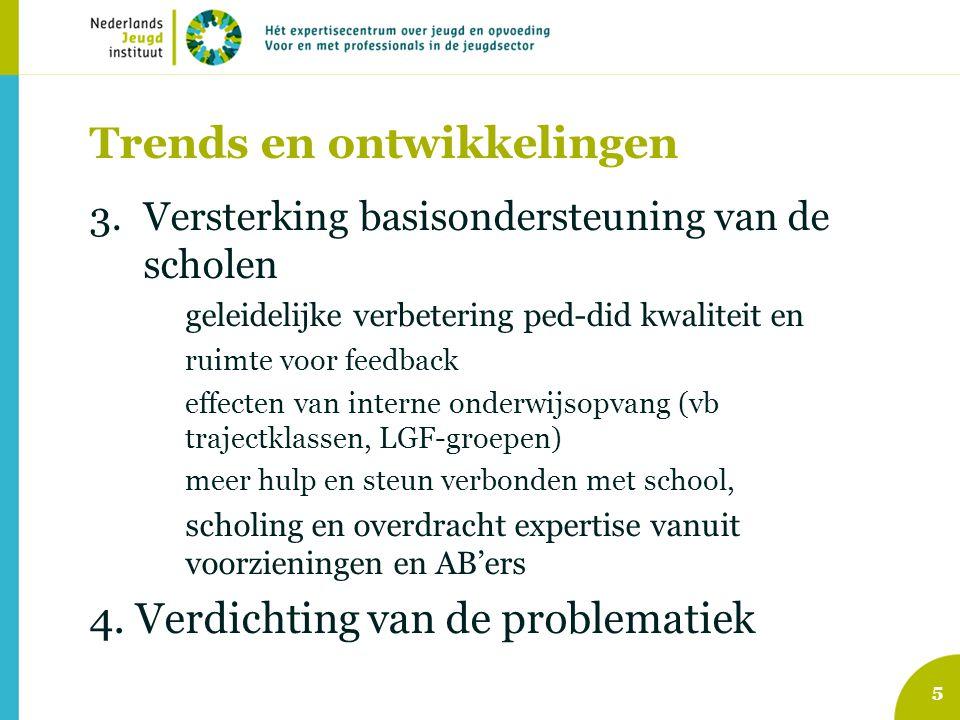 Trends en ontwikkelingen 3.Versterking basisondersteuning van de scholen geleidelijke verbetering ped-did kwaliteit en ruimte voor feedback effecten v