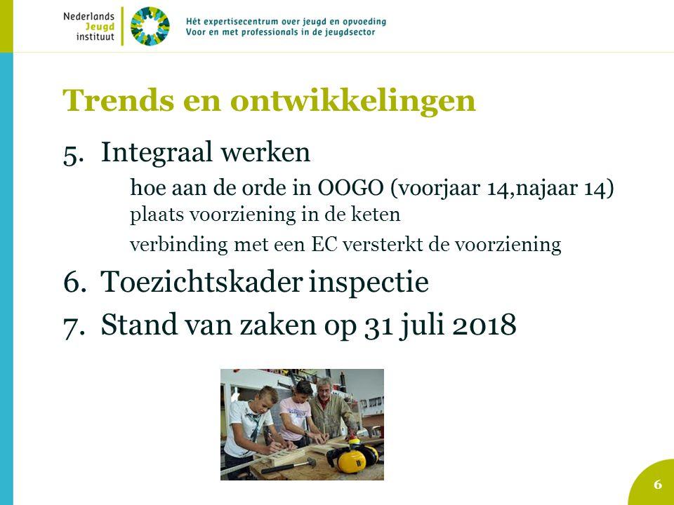 Trends en ontwikkelingen 5.Integraal werken hoe aan de orde in OOGO (voorjaar 14,najaar 14) plaats voorziening in de keten verbinding met een EC verst