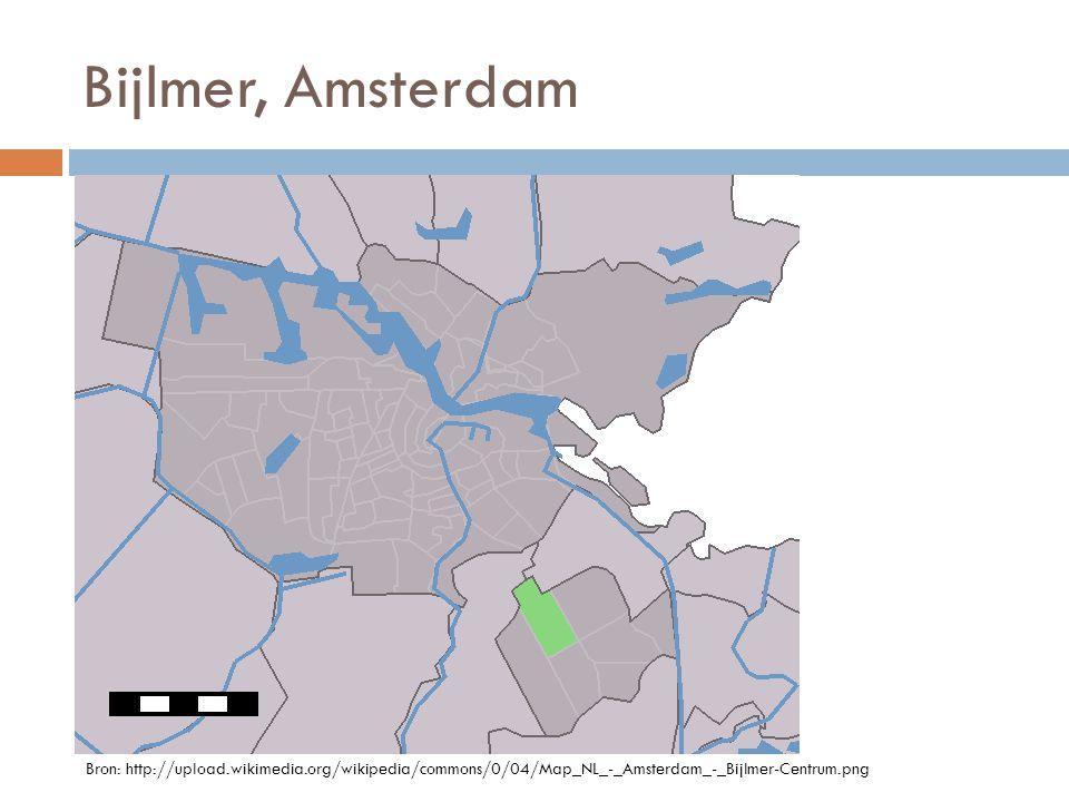 Bijlmer, Amsterdam Bron: http://upload.wikimedia.org/wikipedia/commons/0/04/Map_NL_-_Amsterdam_-_Bijlmer-Centrum.png
