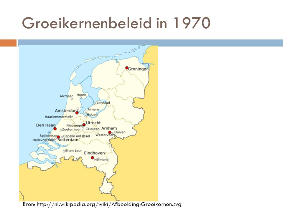 Groeikernenbeleid in 1970 Bron: http://nl.wikipedia.org/wiki/Afbeelding:Groeikernen.svg
