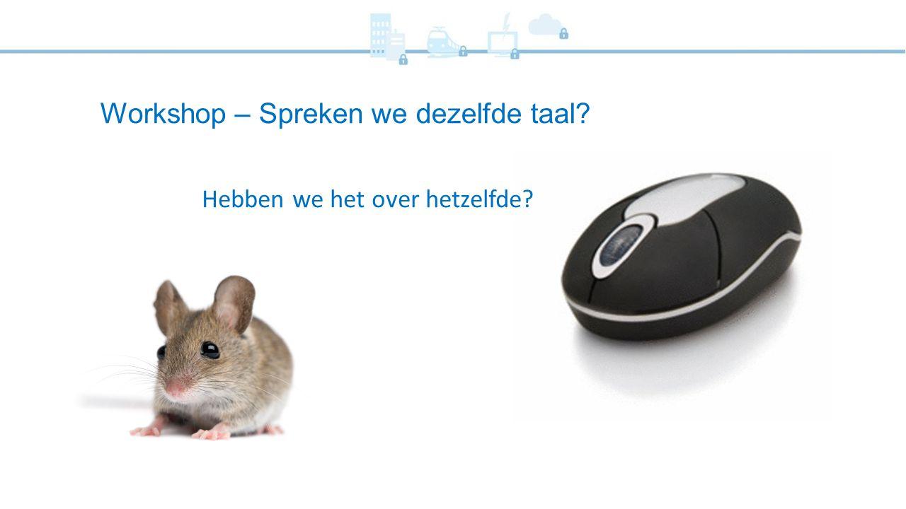 Workshop – Spreken we dezelfde taal? Hebben we het over hetzelfde?