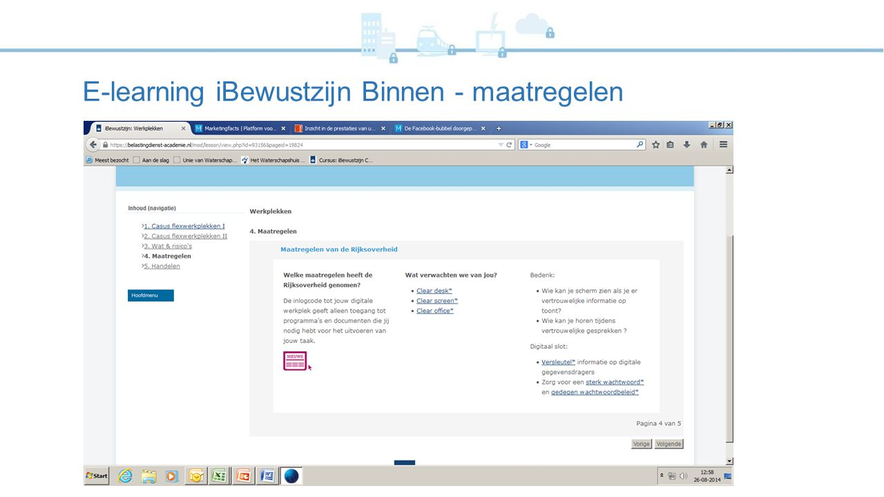 E-learning iBewustzijn Binnen - maatregelen