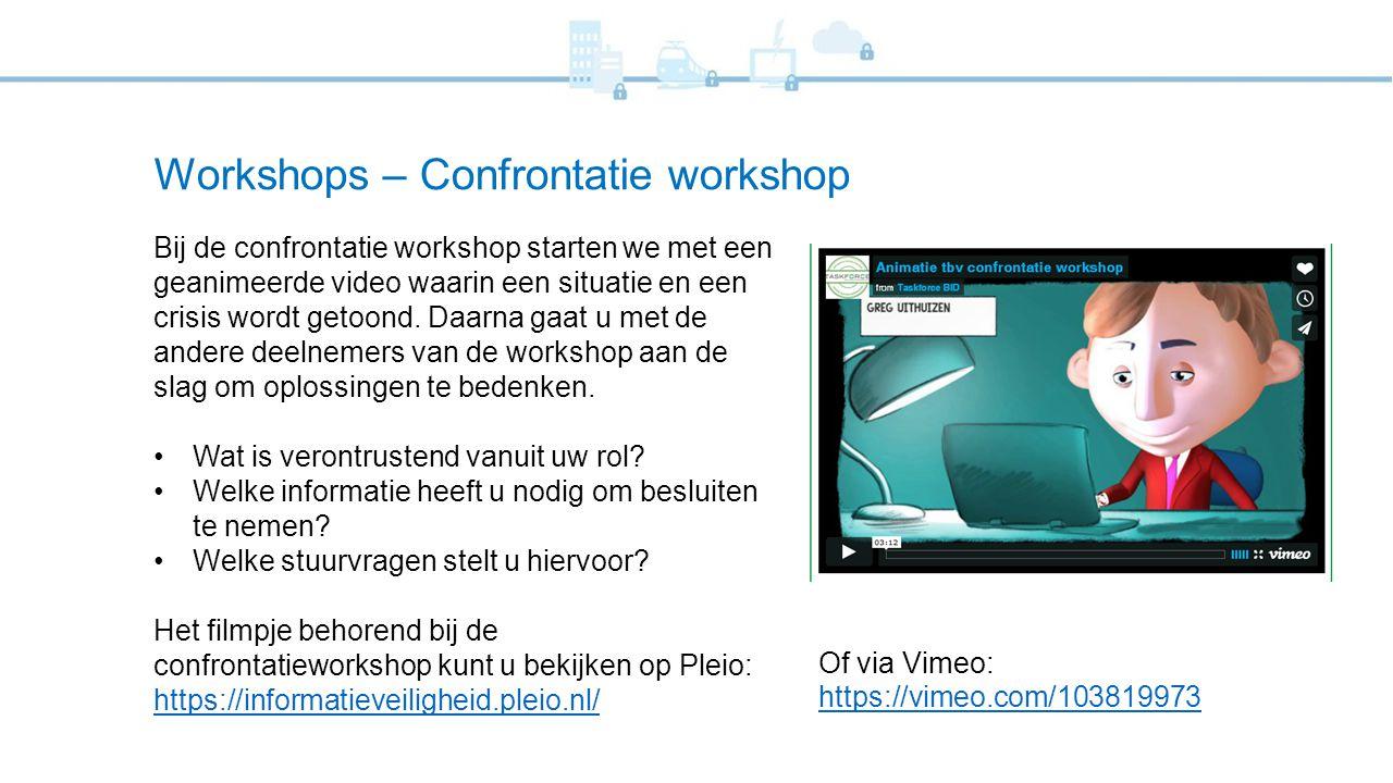 Workshops – Confrontatie workshop Bij de confrontatie workshop starten we met een geanimeerde video waarin een situatie en een crisis wordt getoond. D