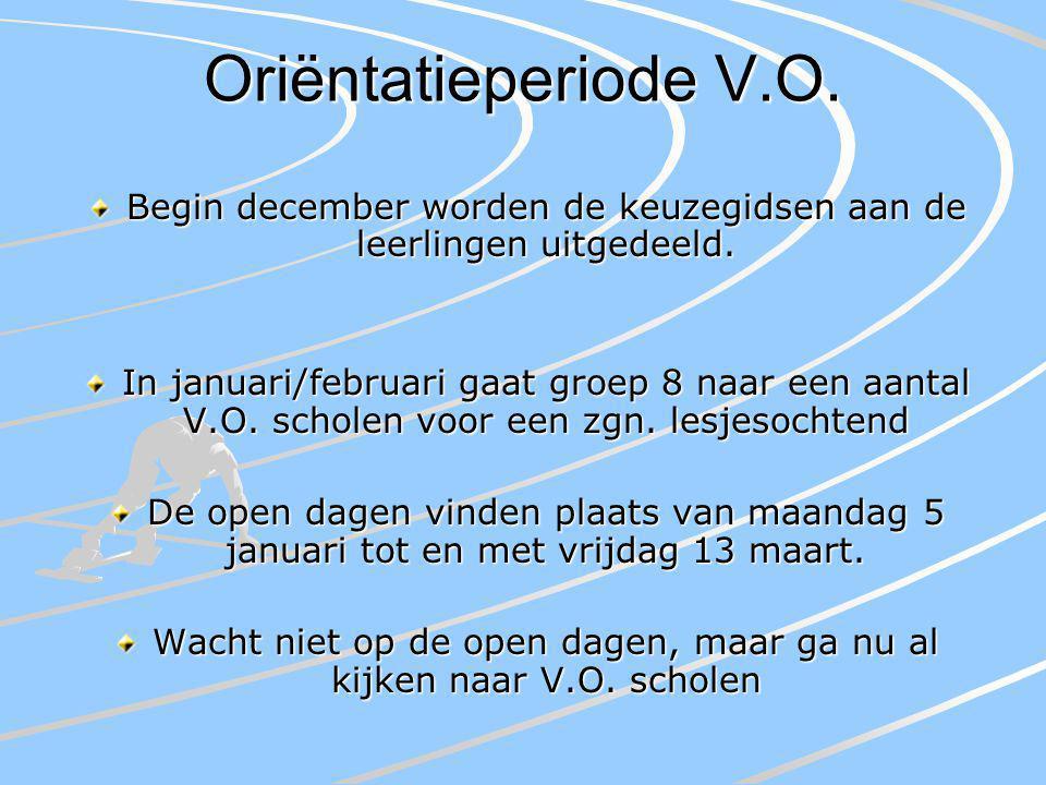 Oriëntatieperiode V.O. Begin december worden de keuzegidsen aan de leerlingen uitgedeeld. In januari/februari gaat groep 8 naar een aantal V.O. schole