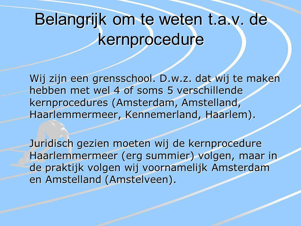 Belangrijk om te weten t.a.v. de kernprocedure Wij zijn een grensschool.