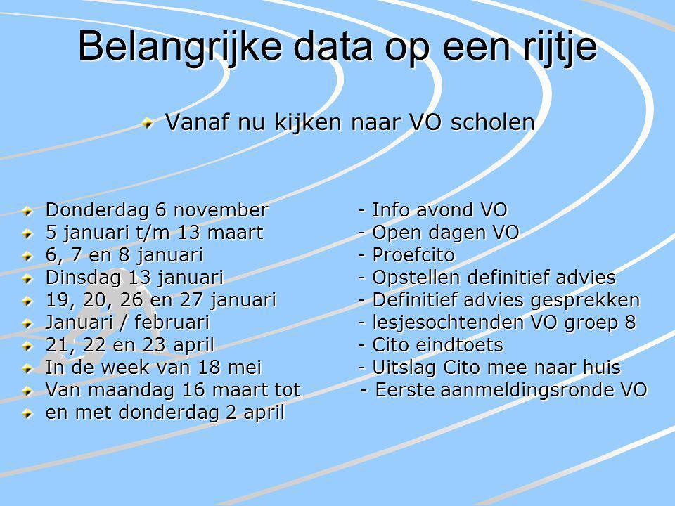 Belangrijke data op een rijtje Vanaf nu kijken naar VO scholen Donderdag 6 november- Info avond VO 5 januari t/m 13 maart- Open dagen VO 6, 7 en 8 jan