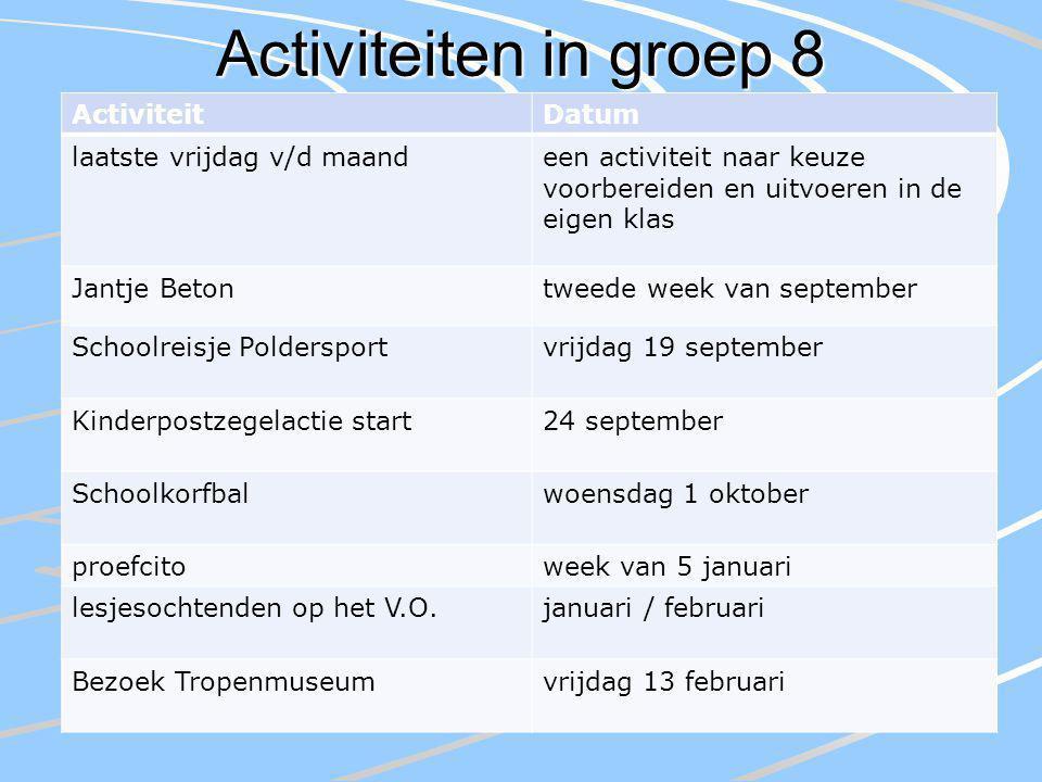 Activiteiten in groep 8 ActiviteitDatum laatste vrijdag v/d maandeen activiteit naar keuze voorbereiden en uitvoeren in de eigen klas Jantje Betontwee
