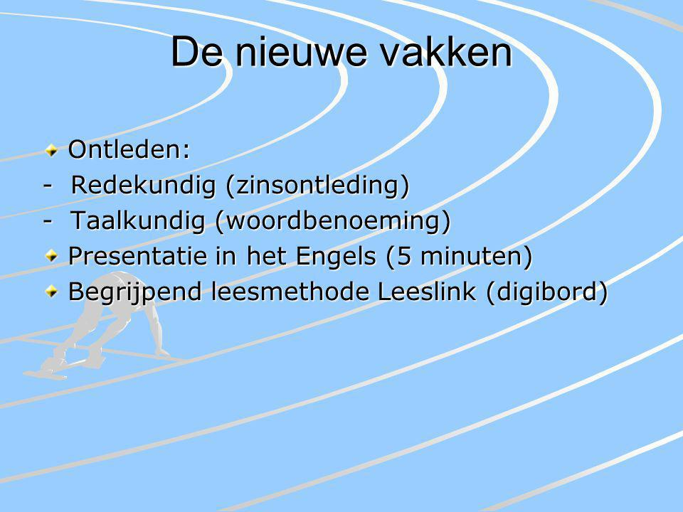 De nieuwe vakken Ontleden: - Redekundig (zinsontleding) - Taalkundig (woordbenoeming) Presentatie in het Engels (5 minuten) Begrijpend leesmethode Leeslink (digibord)