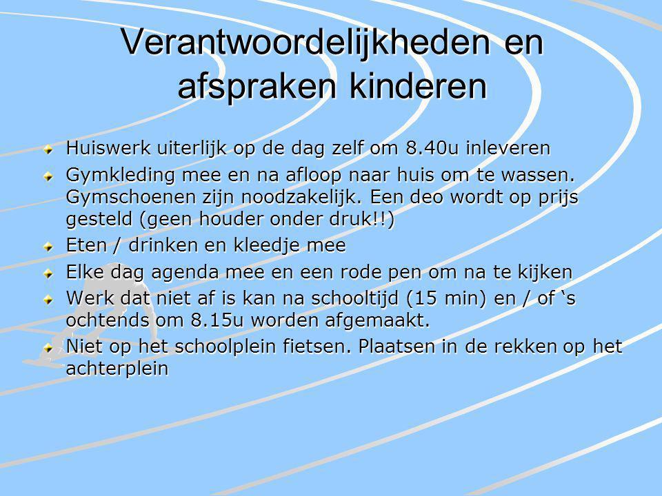 Verantwoordelijkheden en afspraken kinderen Huiswerk uiterlijk op de dag zelf om 8.40u inleveren Gymkleding mee en na afloop naar huis om te wassen.