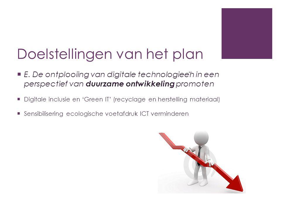 Doelstellingen van het plan  E. De ontplooiing van digitale technologiee ̈ n in een perspectief van duurzame ontwikkeling promoten  Digitale inclusi
