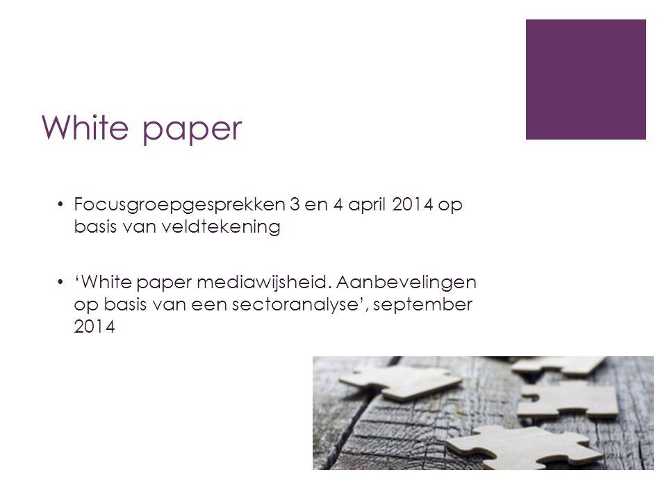 White paper Focusgroepgesprekken 3 en 4 april 2014 op basis van veldtekening 'White paper mediawijsheid. Aanbevelingen op basis van een sectoranalyse'