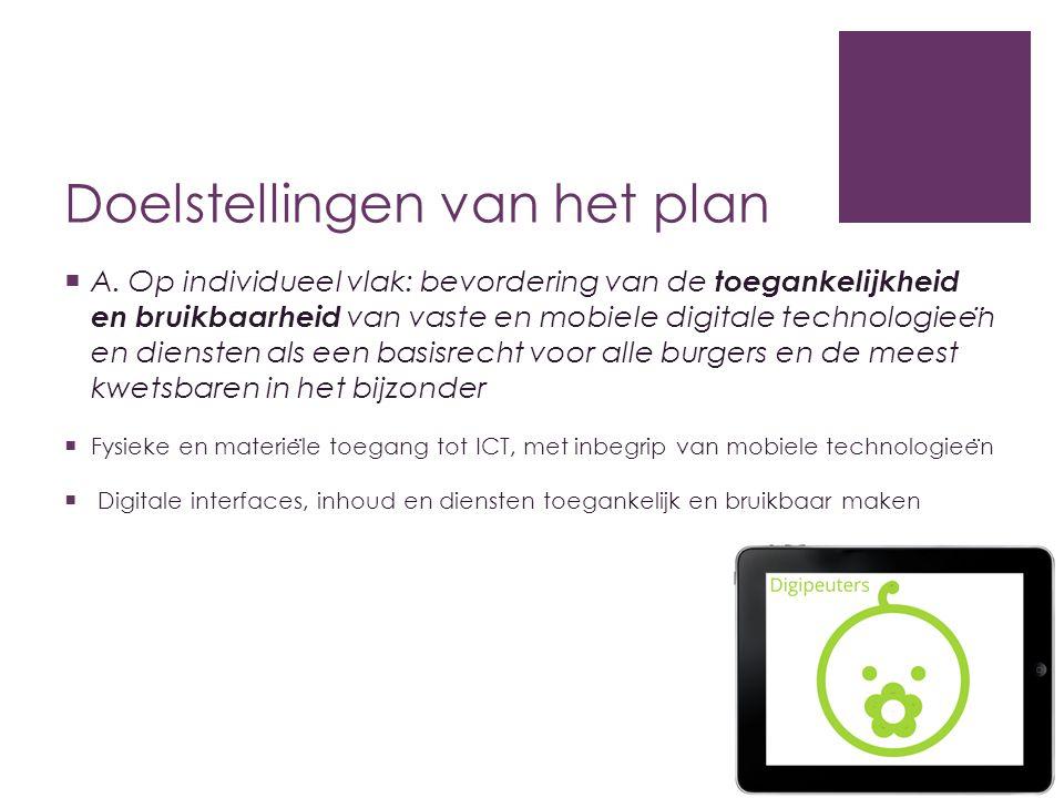 Doelstellingen van het plan  A. Op individueel vlak: bevordering van de toegankelijkheid en bruikbaarheid van vaste en mobiele digitale technologiee