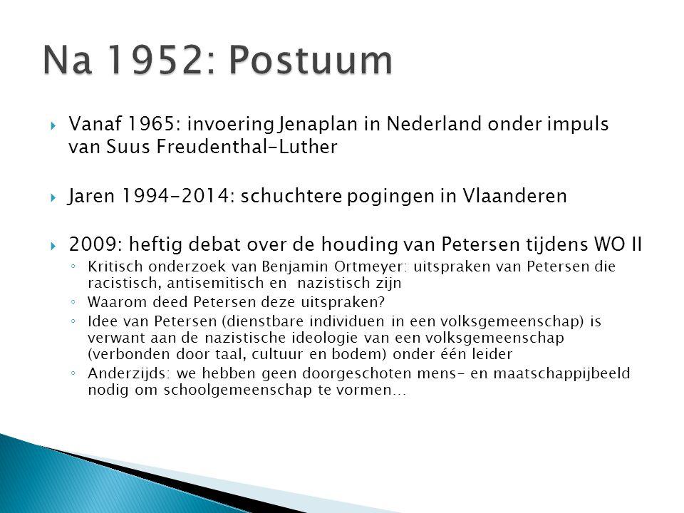  Vanaf 1965: invoering Jenaplan in Nederland onder impuls van Suus Freudenthal-Luther  Jaren 1994-2014: schuchtere pogingen in Vlaanderen  2009: he