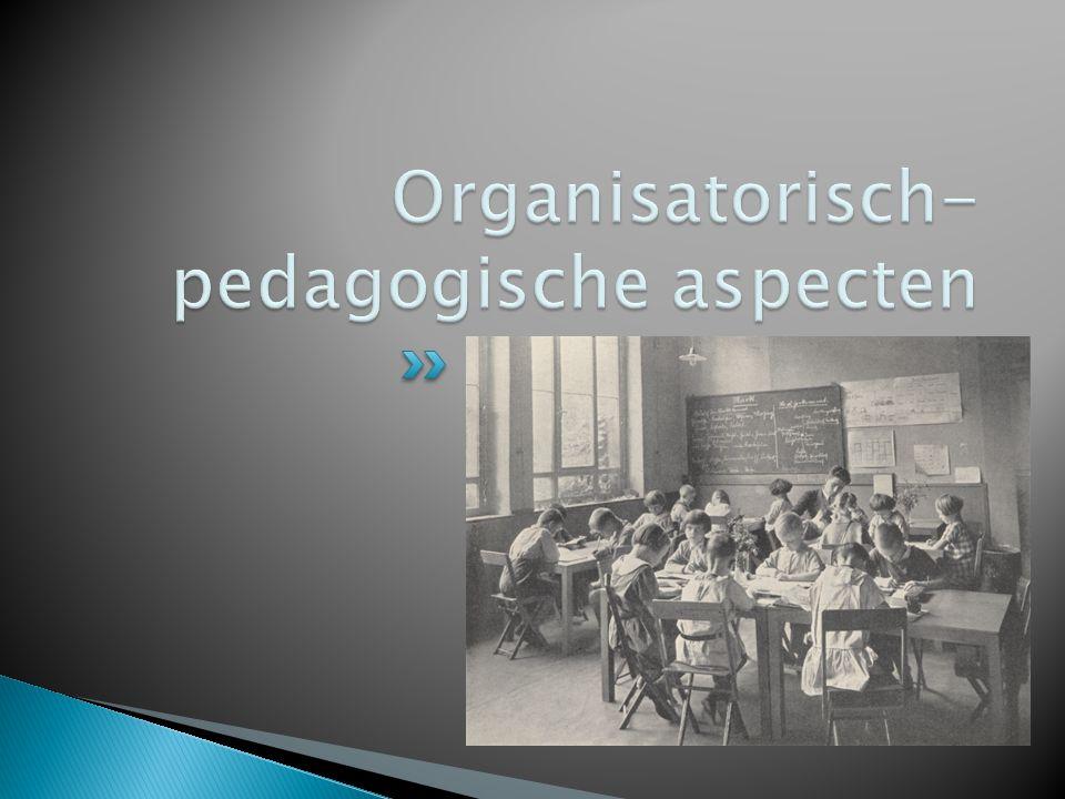  De school is een gemeenschap van: ◦ kinderen ◦ groepsleiders ◦ ouders  Stamgroepen van 3 jaar (leerling-gezel-meester) ◦ meerwaarde stond voor Petersen 'proefondervindelijk' vast… ◦ uitgangspunt: het verschil werkt stimulerend…  Unterstufe (onderbouw): 6-9 jaar  Mittelstufe (middenbouw): 9-12 jaar  Oberstufe (bovenbouw): 12-14 jaar  Jugendlichenstufe I: 14-16 jaar  Jugendlichenstufe II: 16-18 jaar
