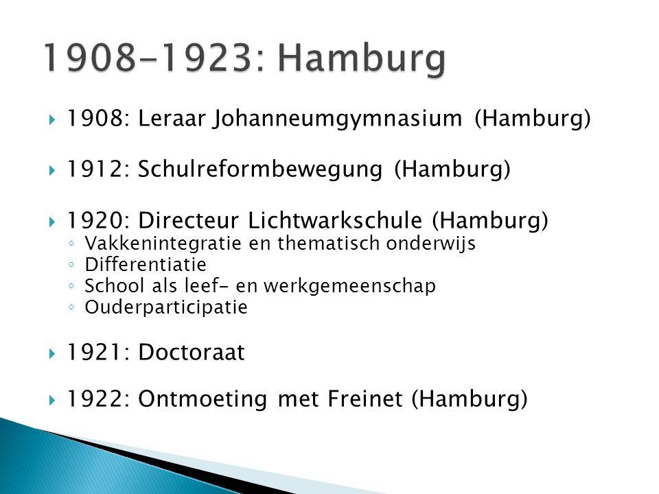  1923: Hoogleraar onderwijskunde te Jena ◦ Opvolger van de 'Herbartiaan' Wilhelm Rein, promotor van de 'formele leertrappen': een variatieloos en voorspelbaar lespatroon van 'Klarheit', 'Assoziation', 'System' en 'Methode' ◦ Vindt meer aansluiting bij Karl Volkmar Stoy, voorloper van Rein en promotor van totaliteitsonderwijs  < Pestalozzi: 'hoofd, hart en handen'  < Landerziehungsheime  Experimenteel-wetenschappelijke ijver ◦ 'Pädagogische Tatsachenforschung' in oefenschool ◦ Empirische basis voor de onderwijskunde