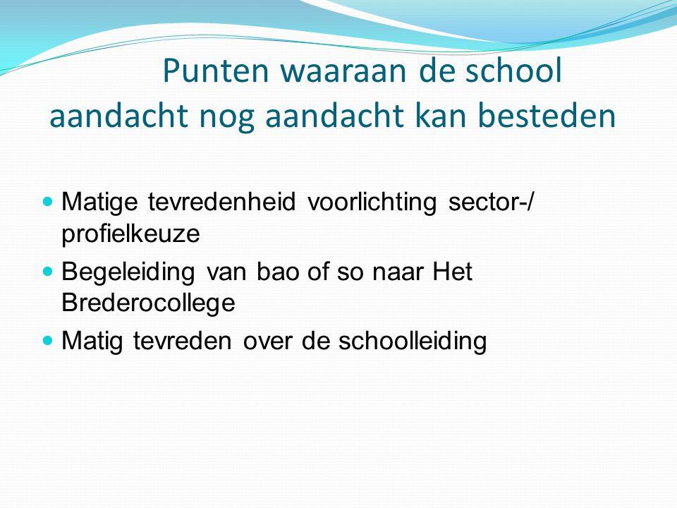 Punten waaraan de school aandacht nog aandacht kan besteden Matige tevredenheid voorlichting sector-/ profielkeuze Begeleiding van bao of so naar Het