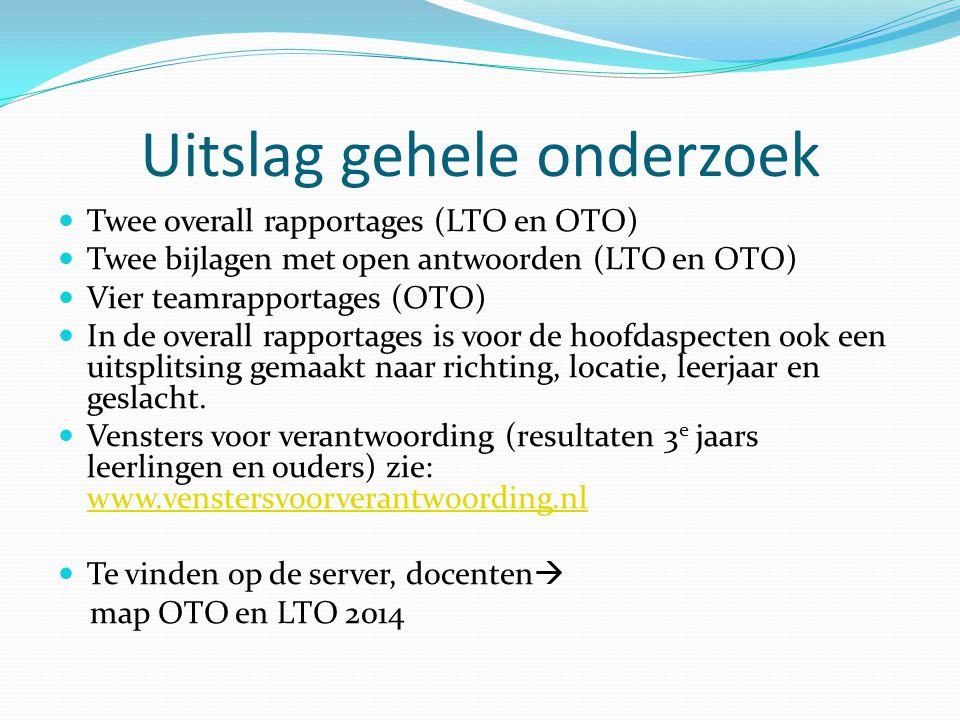 Uitslag gehele onderzoek Twee overall rapportages (LTO en OTO) Twee bijlagen met open antwoorden (LTO en OTO) Vier teamrapportages (OTO) In de overall