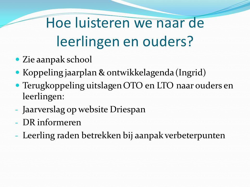 Hoe luisteren we naar de leerlingen en ouders? Zie aanpak school Koppeling jaarplan & ontwikkelagenda (Ingrid) Terugkoppeling uitslagen OTO en LTO naa
