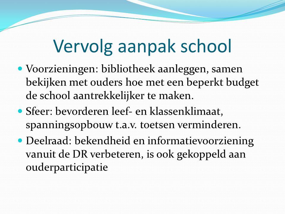 Vervolg aanpak school Voorzieningen: bibliotheek aanleggen, samen bekijken met ouders hoe met een beperkt budget de school aantrekkelijker te maken. S