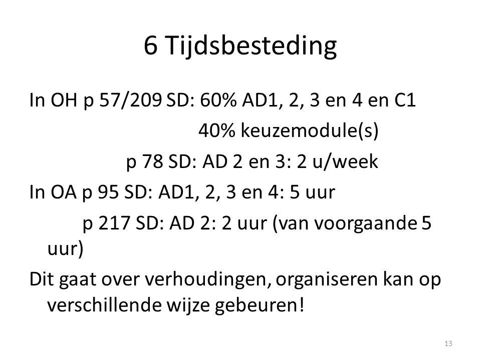 6 Tijdsbesteding In OH p 57/209 SD: 60% AD1, 2, 3 en 4 en C1 40% keuzemodule(s) p 78 SD: AD 2 en 3: 2 u/week In OA p 95 SD: AD1, 2, 3 en 4: 5 uur p 21