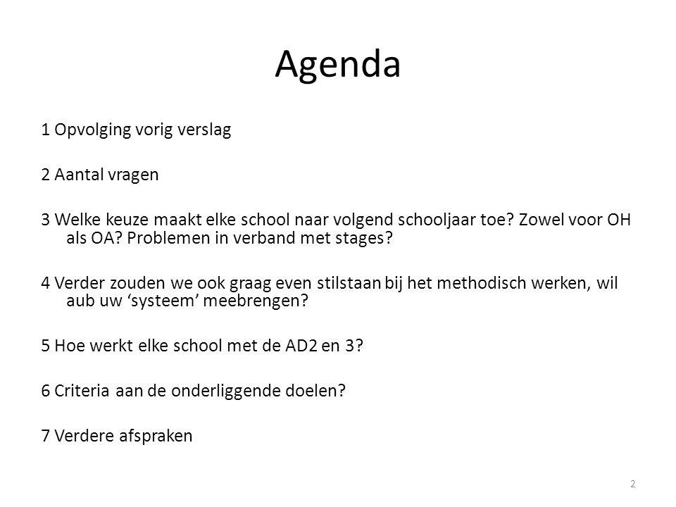 Agenda 1 Opvolging vorig verslag 2 Aantal vragen 3 Welke keuze maakt elke school naar volgend schooljaar toe? Zowel voor OH als OA? Problemen in verba