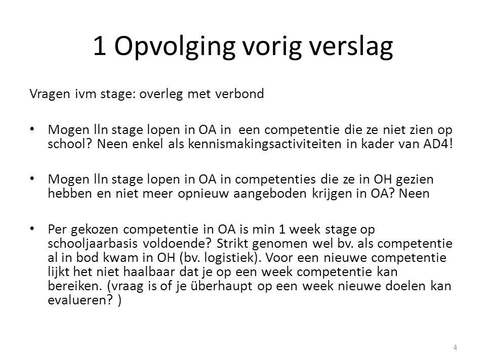 1 Opvolging vorig verslag Vragen ivm stage: overleg met verbond Mogen lln stage lopen in OA in een competentie die ze niet zien op school? Neen enkel