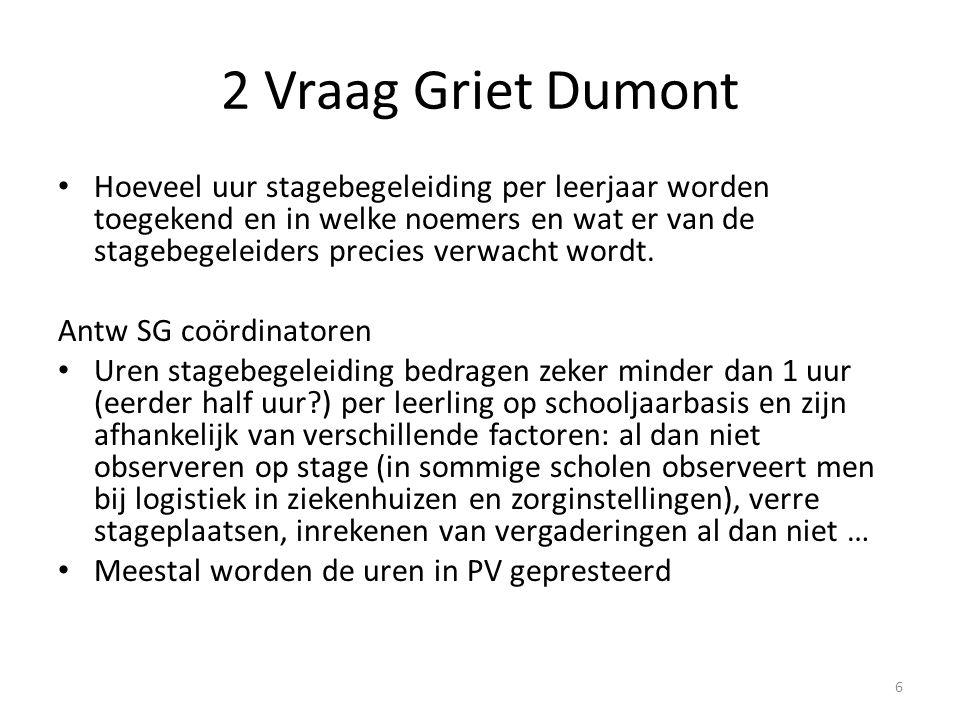 2 Vraag Griet Dumont Daarnaast ben ik ook eens benieuwd te vernemen hoe andere scholen de logistieke ondersteuning voor de praktijklessen organiseren.