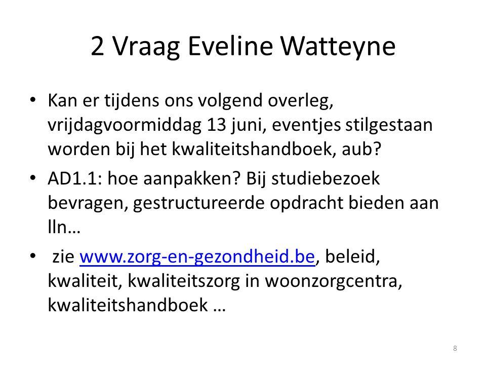 2 Vraag Eveline Watteyne Kan er tijdens ons volgend overleg, vrijdagvoormiddag 13 juni, eventjes stilgestaan worden bij het kwaliteitshandboek, aub? A