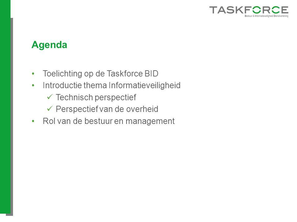 Agenda Toelichting op de Taskforce BID Introductie thema Informatieveiligheid Technisch perspectief Perspectief van de overheid Rol van de bestuur en