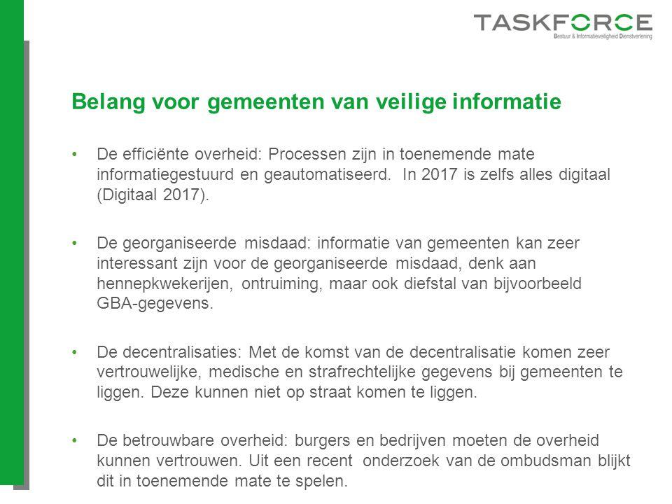 Belang voor gemeenten van veilige informatie De efficiënte overheid: Processen zijn in toenemende mate informatiegestuurd en geautomatiseerd. In 2017