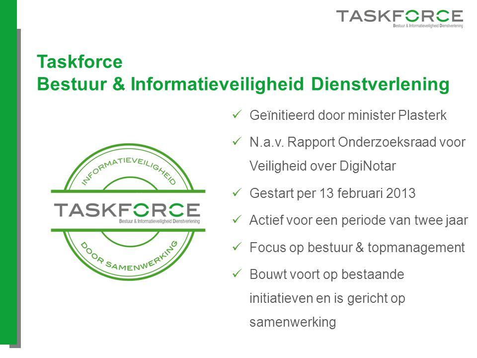 Taskforce Bestuur & Informatieveiligheid Dienstverlening Geïnitieerd door minister Plasterk N.a.v. Rapport Onderzoeksraad voor Veiligheid over DigiNot
