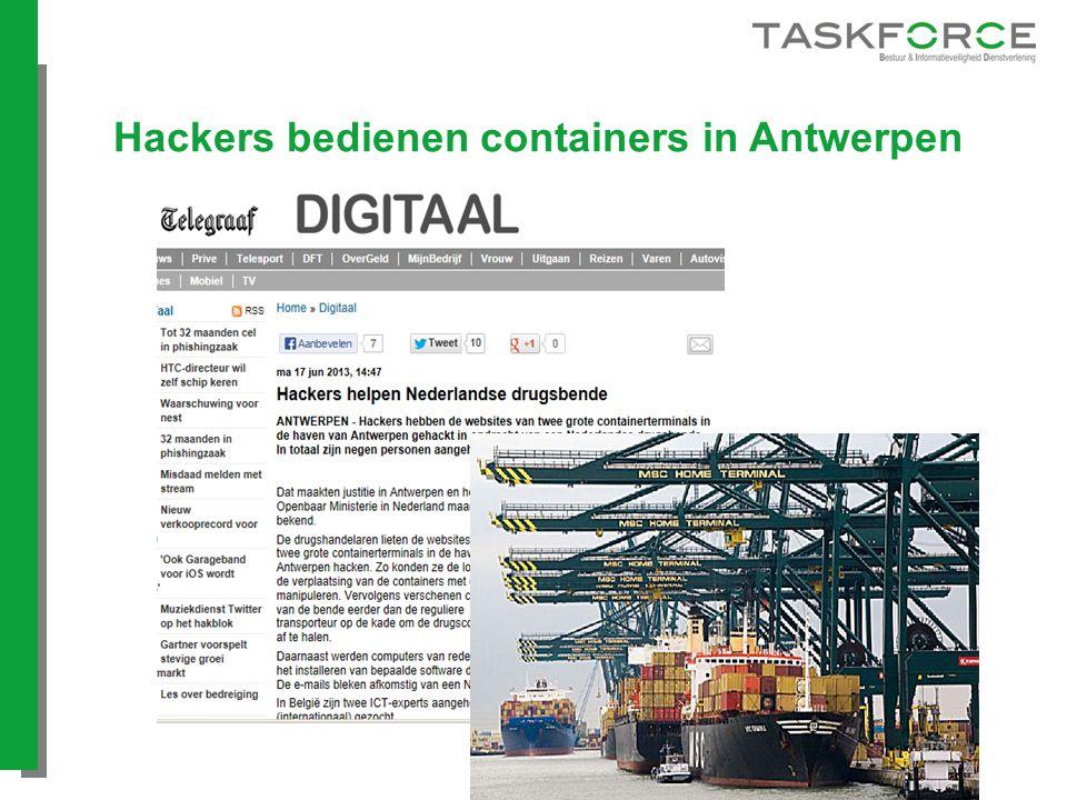 Hackers bedienen containers in Antwerpen
