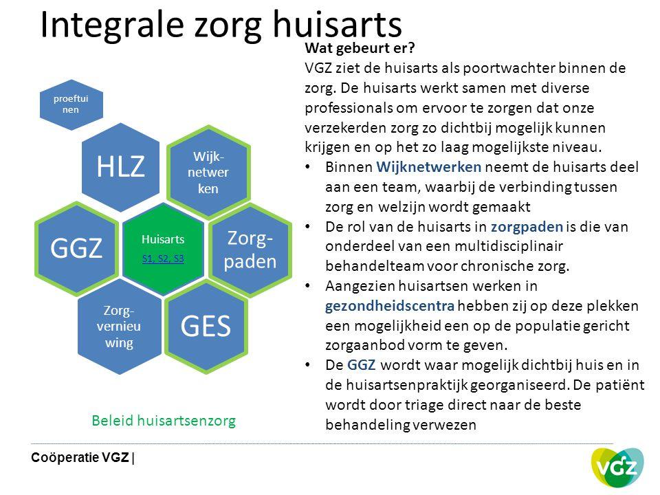 Integrale zorg huisarts Wijk- netwer ken HLZ proeftui nen Zorg- paden Huisarts S1, S2, S3 GGZ Zorg- vernieu wing GES Wat gebeurt er? VGZ ziet de huisa