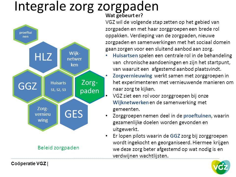 Integrale zorg zorgpaden Wijk- netwer ken HLZ proeftui nen Zorg- paden Huisarts S1, S2, S3 GGZ Zorg- vernieu wing GES Wat gebeurt er? VGZ wil de volge