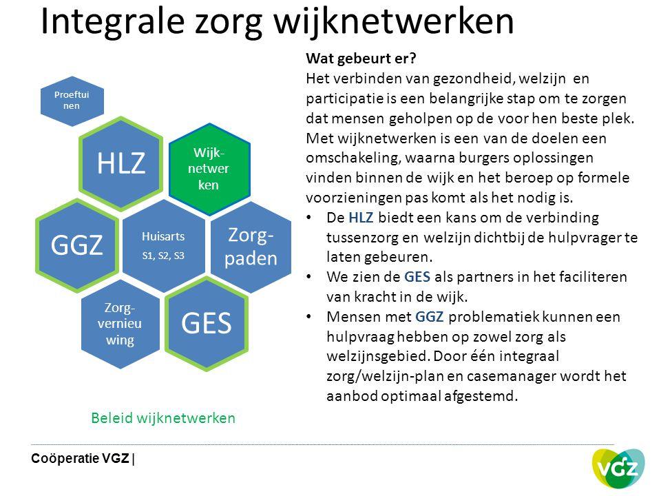 Integrale zorg wijknetwerken Wijk- netwer ken HLZ Proeftui nen Zorg- paden Huisarts S1, S2, S3 GGZ Zorg- vernieu wing GES Wat gebeurt er? Het verbinde