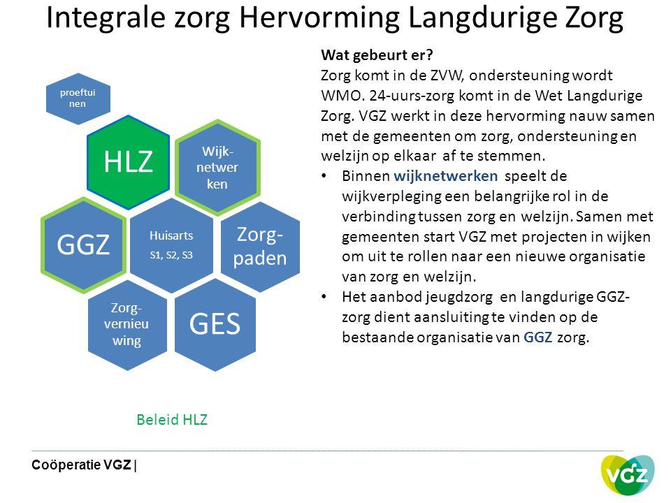 Integrale zorg Hervorming Langdurige Zorg Wijk- netwer ken HLZ proeftui nen Zorg- paden Huisarts S1, S2, S3 GGZ Zorg- vernieu wing GES Wat gebeurt er?