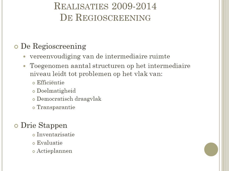 R EALISATIES 2009-2014 D E R EGIOSCREENING De Regioscreening vereenvoudiging van de intermediaire ruimte Toegenomen aantal structuren op het intermedi