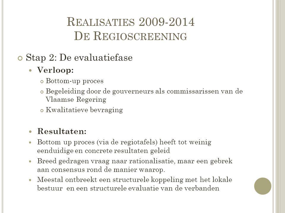 R EALISATIES 2009-2014 D E R EGIOSCREENING Stap 2: De evaluatiefase Verloop: Bottom-up proces Begeleiding door de gouverneurs als commissarissen van d