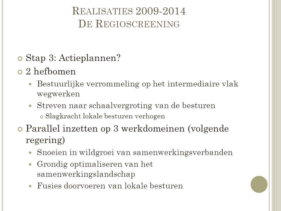 R EALISATIES 2009-2014 D E R EGIOSCREENING Stap 3: Actieplannen? 2 hefbomen Bestuurlijke verrommeling op het intermediaire vlak wegwerken Streven naar